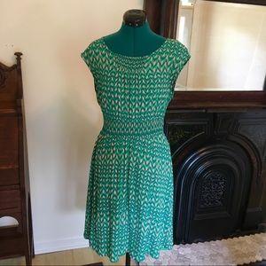 Anthropologie Maeve Green & Pink Swing Dress